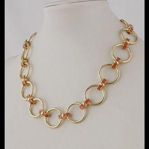 Banana republic gold orange link necklace new