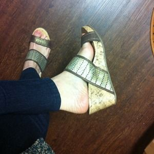 Sbicca Shoes - Tribal Gold Print Cork Wedges