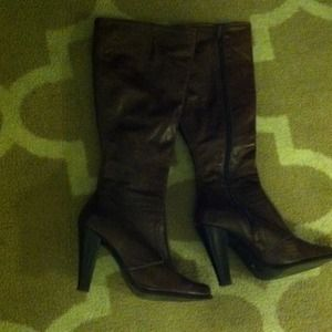 Zara woman brown leather boots size 6