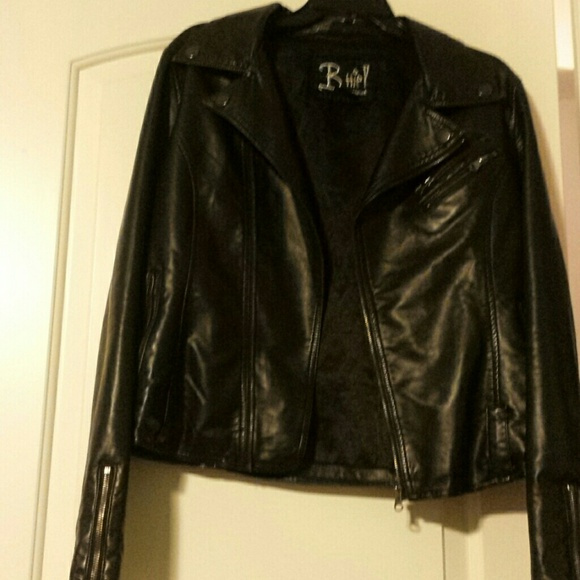 75 off macy 39 s jackets blazers faux black leather for Mercedes benz leather jacket