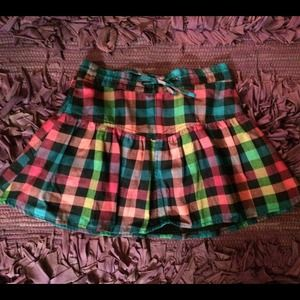 H&M Gingham Multicolor Plaid Mini Skirt