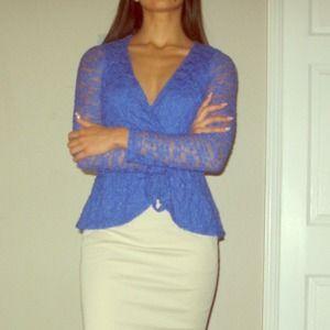 Paisley Sky blue lace tunic blouse size XS