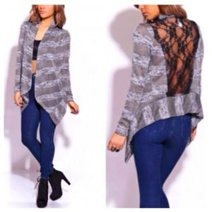 Jackets & Blazers - Heather Grey Cardigan + Lace Back