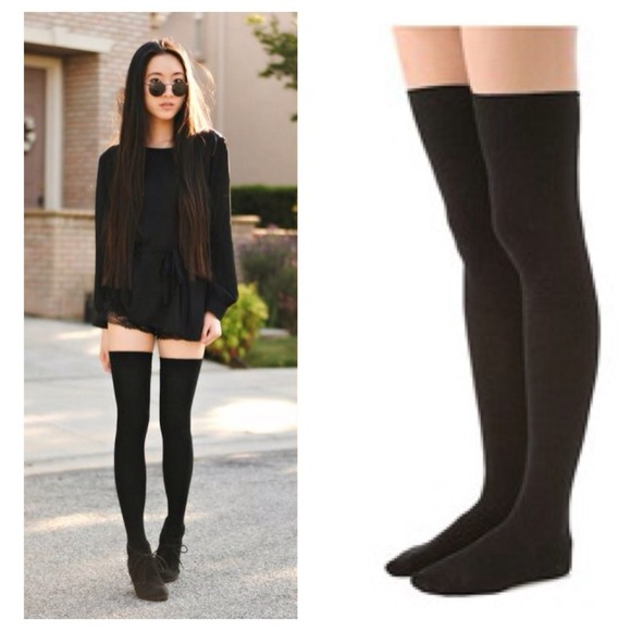 Flat black boots knee high