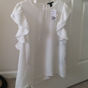 Forever 21 Tops - Ruffled sleeve white blouse- bundle reserved