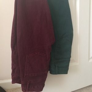 Charlotte Russe Denim - A burgundy and green jean bundle!