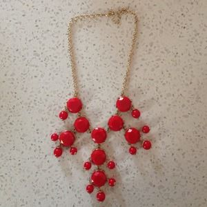 Boutique Jewelry - Red Beveled Bobble Necklace.