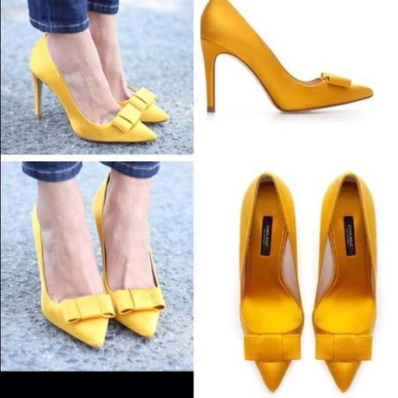 Zara - ⛔️SOLD⛔️NIB!!! Zara yellow satin bow shoes sz 9 40 from ...
