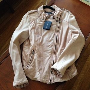 Muubaa Athena Lamb Leather Jacket Lobster/rose/pin