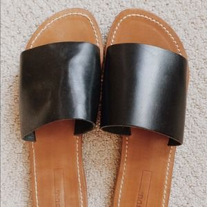 Urban Outfitters Shoes - BDG Black Leather Slide Sandal