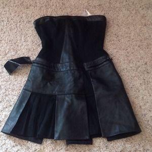 Bebe Black Leather Strapless Dress.  Size xxs