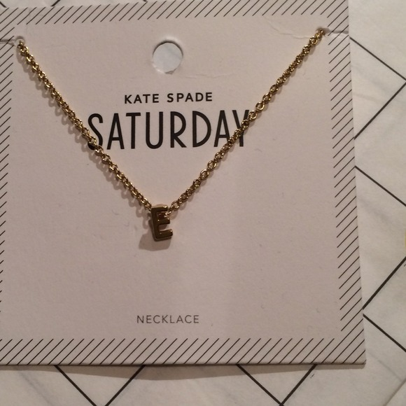 kate spade saturday gold initial e necklace