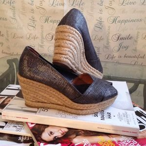 Tory Burch Espadrilles Metallic Wedges
