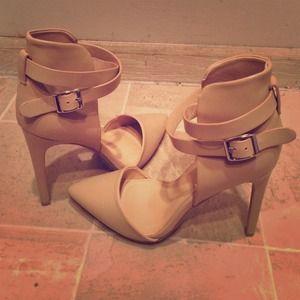 Sleek Nude Pointed Toe Heels