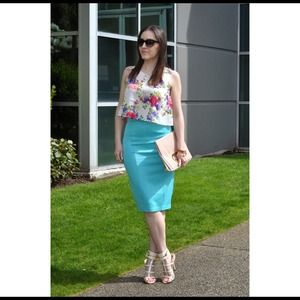 Turquoise pencil skirt