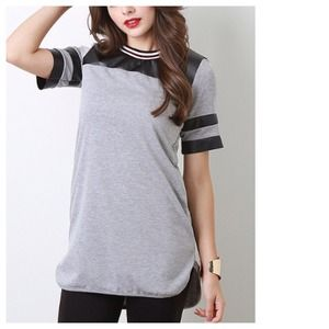 Tops - Grey Baseball Jersey + Faux Leather Trims
