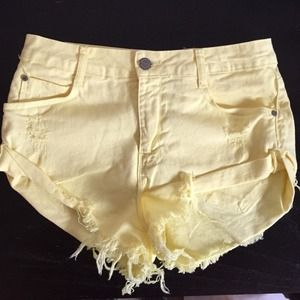Zara yellow Jean shorts