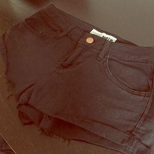 Topshop black denim shorts