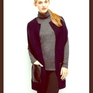 faux leather trimmed Cardigan