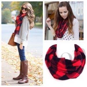 Accessories - Plaid Scarf Cashmere Feel