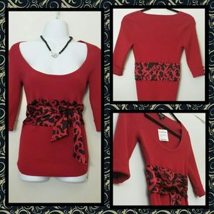 NWT- Red Bebe scoop neck sweater w. satin sash