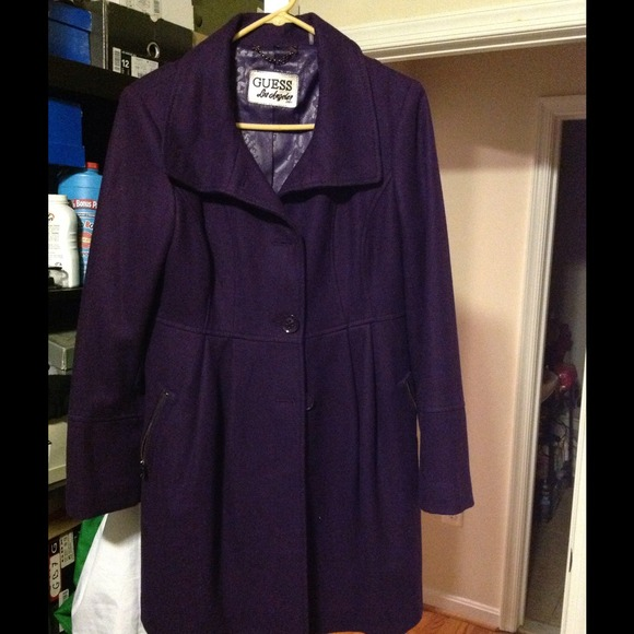 70% off Guess Jackets & Blazers - Guess deep purple pea coat ...
