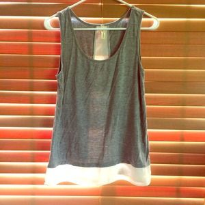 Tops - Grey tank with white chiffon detailing