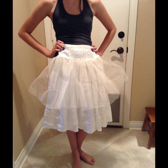 Off white tulle satin slip wedding party girls small 18 for White silk slip wedding dress