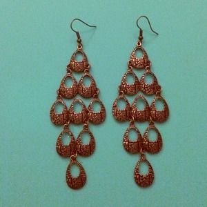 Copper chandelier earrings!