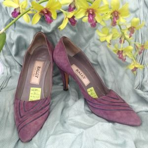 HP! Vintage BALLY suede & leather purple pumps