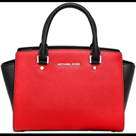 Michael Kors - Michael Kors Selma Red and Black handbag from ...