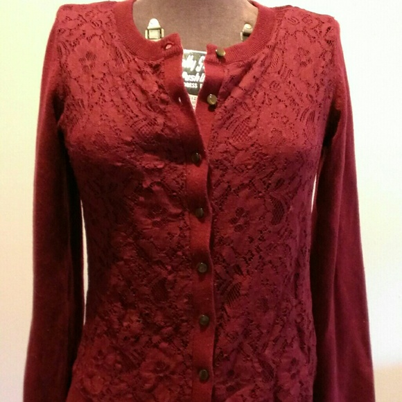 83% off Banana Republic Sweaters - Burgundy lace cardigan from ...