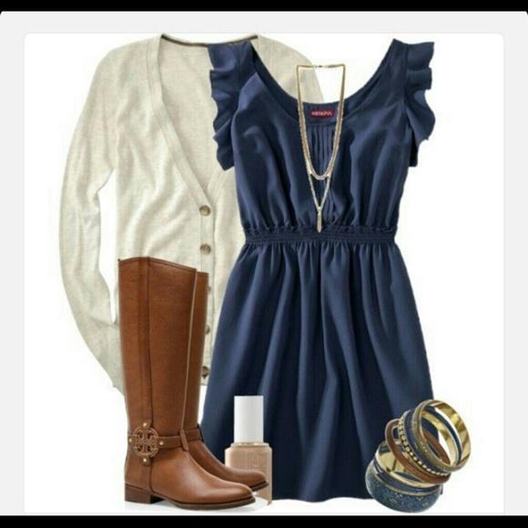 71% off Merona Dresses &amp- Skirts - Navy blue ruffle sleeve dress ...