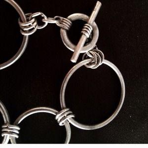 Aged Matte Silver Circles Bracelet