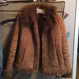 Faux Fur Trimmed Suede Coat With Hook Closure