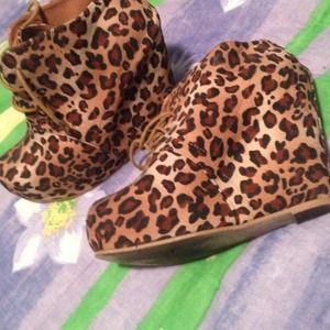 Shoedazzle Leopard Wedge Booties