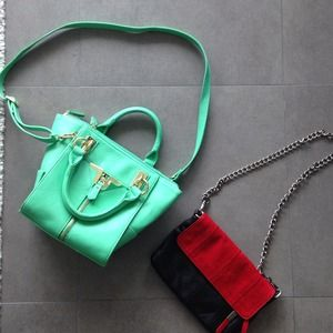 BUNDLE: Red/bag mini bag. And aqua handbag