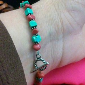 Jewelry - Turquoise and coral bracelet *fits large wrist