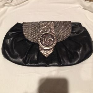 Black clutch with silver faux snake skin