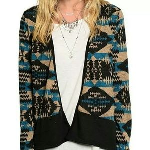 Jackets & Blazers - New Blue Tribal Aztec Print Cardigan