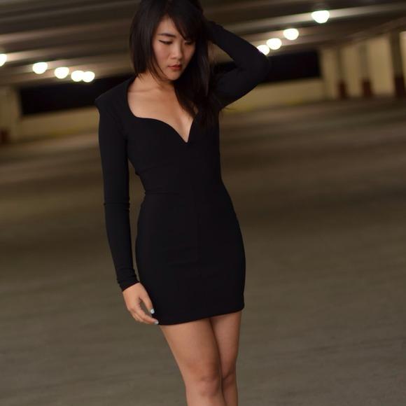 New Nasty Gal Black Sweetheart back tie dress