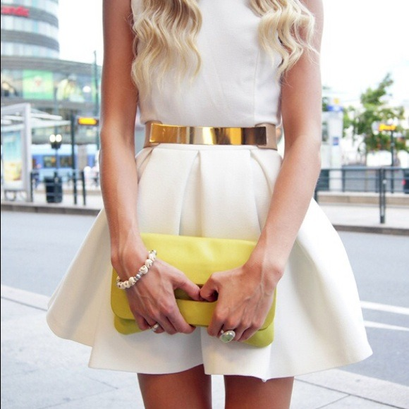 Aqua Floyd Structured Skater Dress in Cream