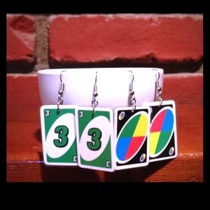 Upcycled Uno card earrings