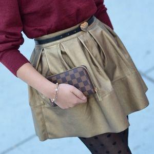 ASOS Dresses & Skirts - Gold Faux Leather Skater Skirt