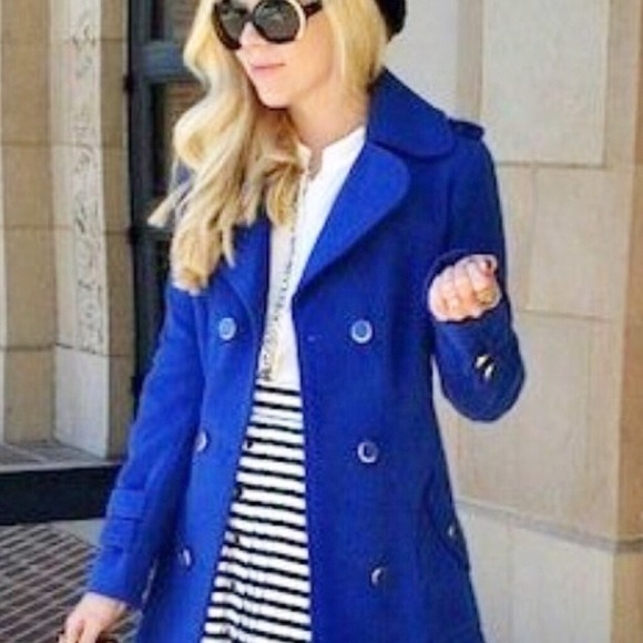 47% off Outerwear - Royal blue wool peacoat trenchcoat winter ...