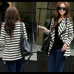 Black & white stripes asymmetric cardigan