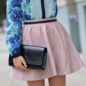 Blush pink Dusty rose faux leather skirt