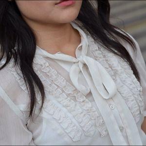Tops - New Sheer Tie Blouse Shirt Ruffles