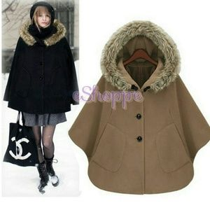 Jackets & Blazers - Brown Hooded Cape