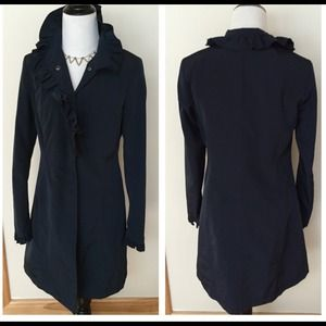 Sisley Jackets & Blazers - NWOT Sisley navy coat with ruffle collar